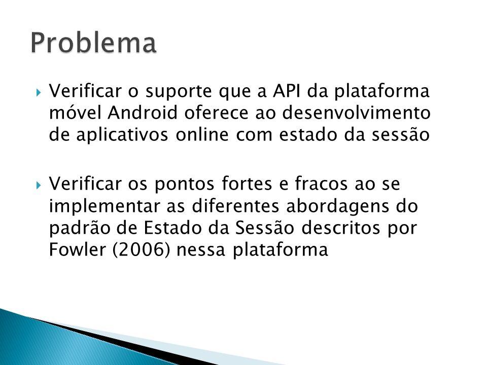 Verificar o suporte que a API da plataforma móvel Android oferece ao desenvolvimento de aplicativos online com estado da sessão Verificar os pontos fo