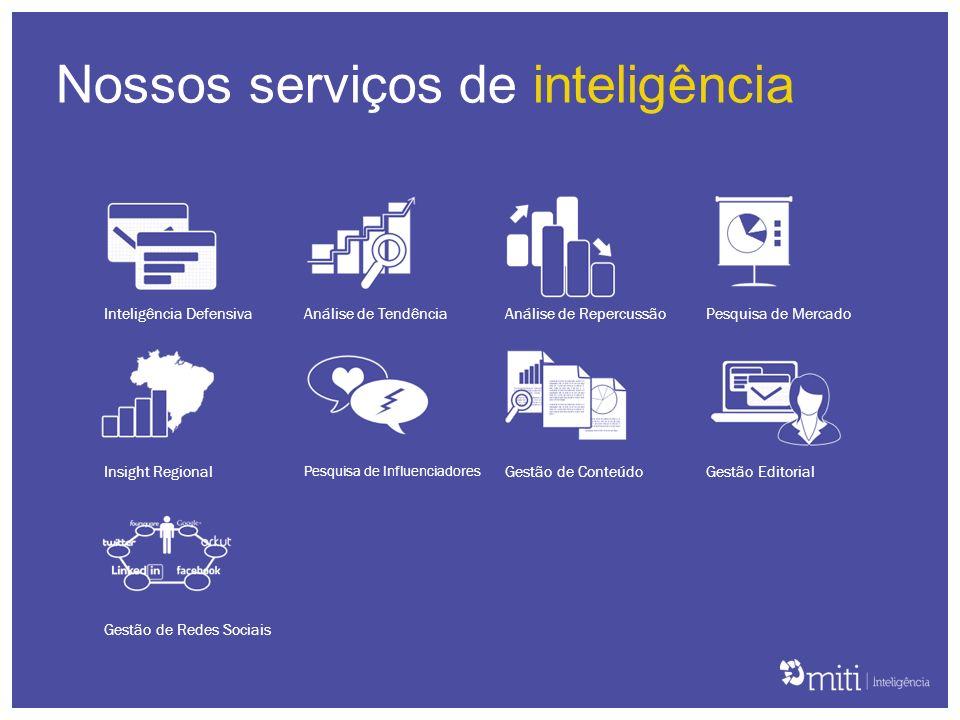 Inteligência DefensivaAnálise de TendênciaAnálise de RepercussãoPesquisa de Mercado Insight Regional Pesquisa de Influenciadores Gestão de ConteúdoGes
