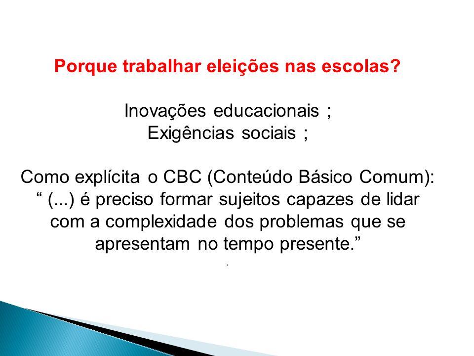 Porque trabalhar eleições nas escolas? Inovações educacionais ; Exigências sociais ; Como explícita o CBC (Conteúdo Básico Comum): (...) é preciso for