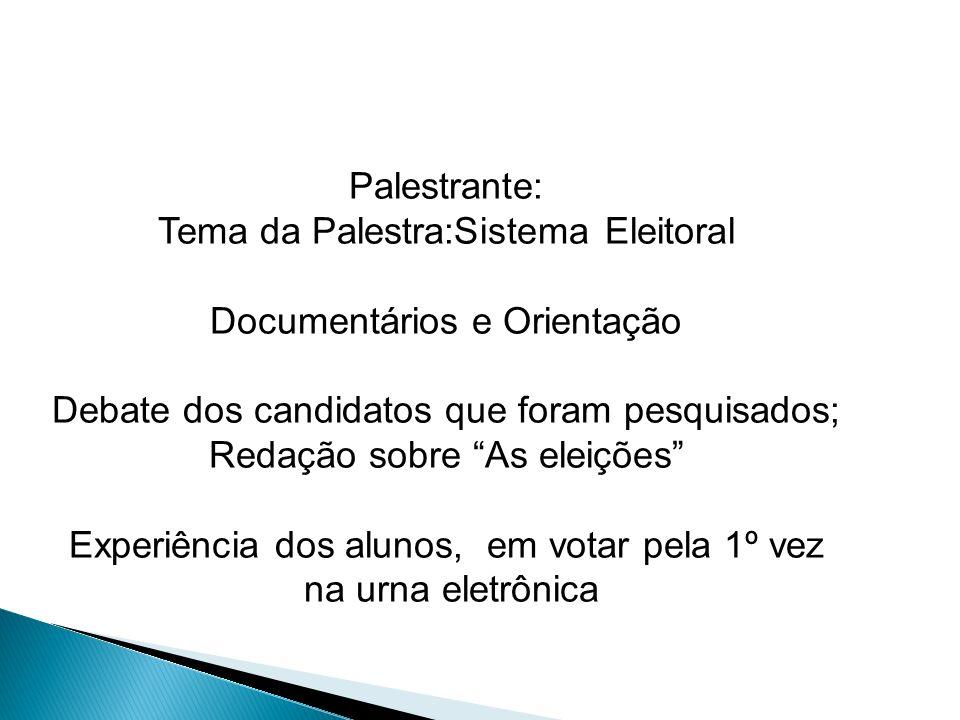Palestrante: Tema da Palestra:Sistema Eleitoral Documentários e Orientação Debate dos candidatos que foram pesquisados; Redação sobre As eleições Expe