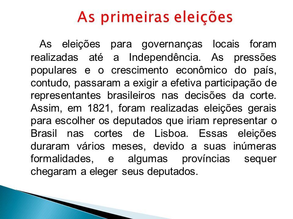 As eleições para governanças locais foram realizadas até a Independência. As pressões populares e o crescimento econômico do país, contudo, passaram a