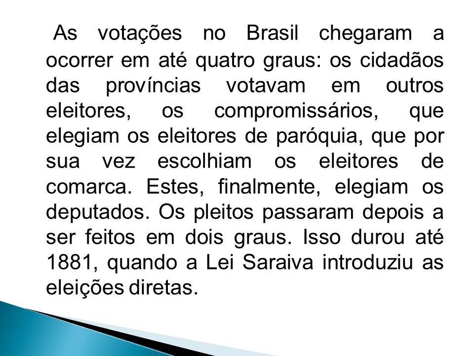 As votações no Brasil chegaram a ocorrer em até quatro graus: os cidadãos das províncias votavam em outros eleitores, os compromissários, que elegiam