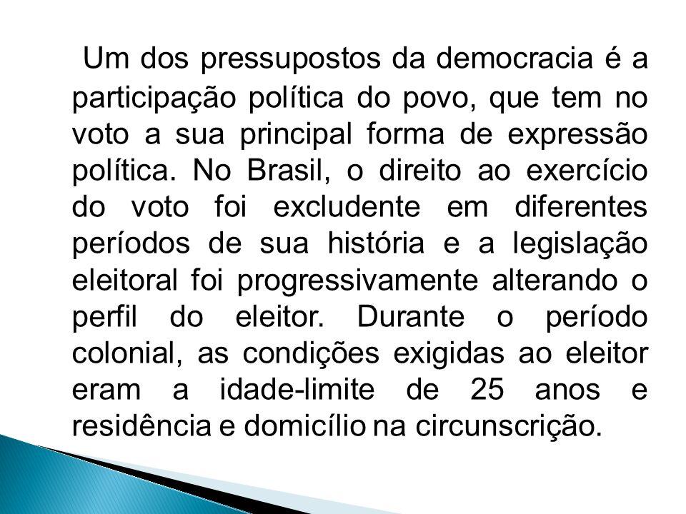 Um dos pressupostos da democracia é a participação política do povo, que tem no voto a sua principal forma de expressão política. No Brasil, o direito