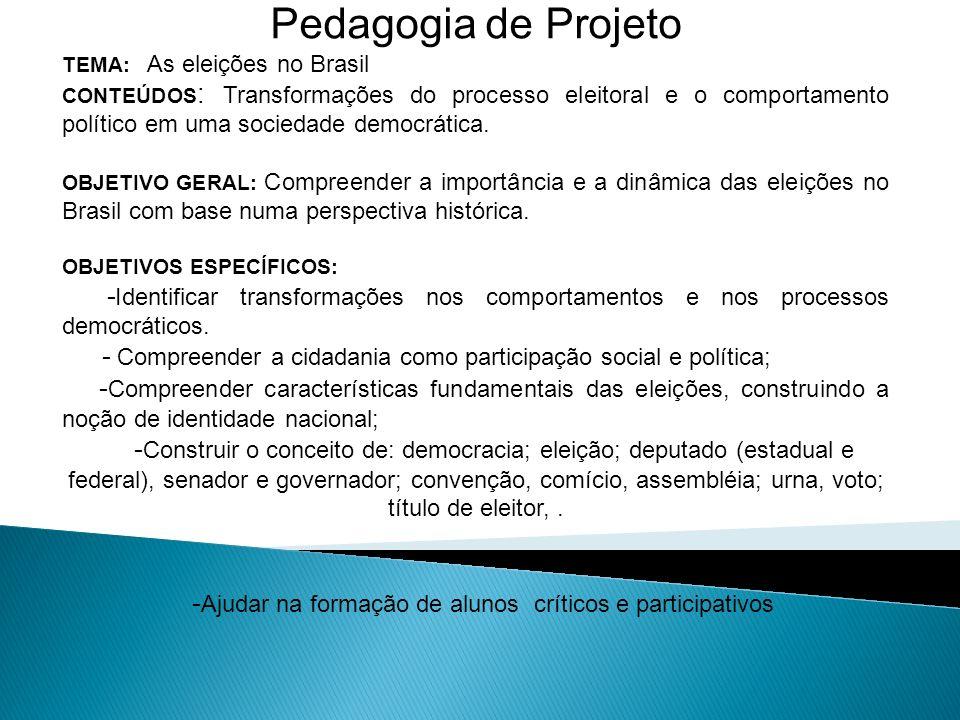 Pedagogia de Projeto TEMA: As eleições no Brasil CONTEÚDOS : Transformações do processo eleitoral e o comportamento político em uma sociedade democrát
