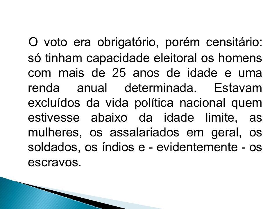 O voto era obrigatório, porém censitário: só tinham capacidade eleitoral os homens com mais de 25 anos de idade e uma renda anual determinada. Estavam
