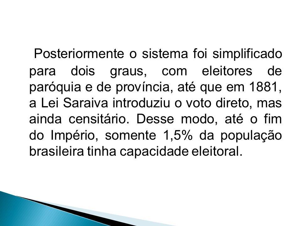 Posteriormente o sistema foi simplificado para dois graus, com eleitores de paróquia e de província, até que em 1881, a Lei Saraiva introduziu o voto