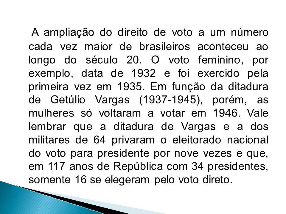 A ampliação do direito de voto a um número cada vez maior de brasileiros aconteceu ao longo do século 20. O voto feminino, por exemplo, data de 1932 e