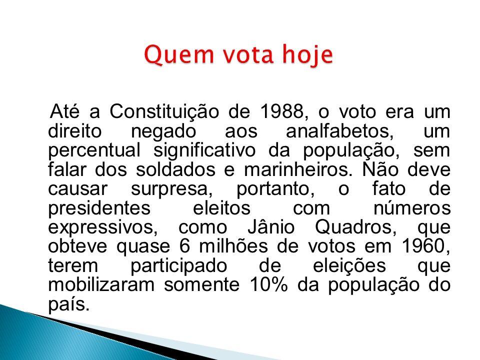 Até a Constituição de 1988, o voto era um direito negado aos analfabetos, um percentual significativo da população, sem falar dos soldados e marinheir
