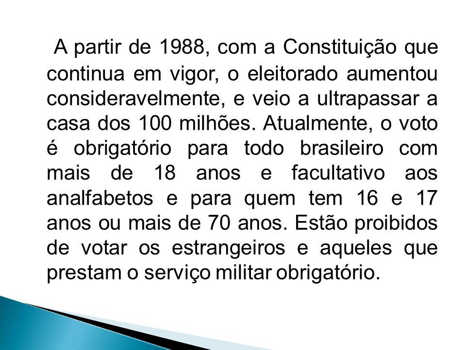 A partir de 1988, com a Constituição que continua em vigor, o eleitorado aumentou consideravelmente, e veio a ultrapassar a casa dos 100 milhões. Atua