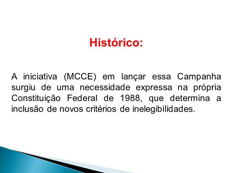 Histórico: A iniciativa (MCCE) em lançar essa Campanha surgiu de uma necessidade expressa na própria Constituição Federal de 1988, que determina a inc