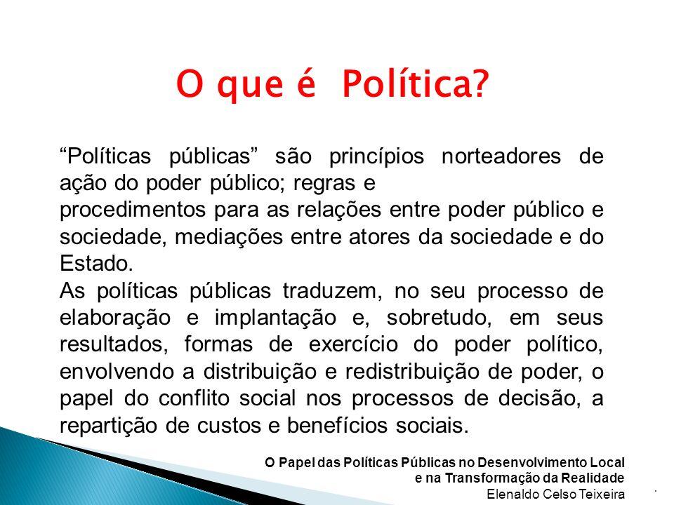 O que é Política? Políticas públicas são princípios norteadores de ação do poder público; regras e procedimentos para as relações entre poder público