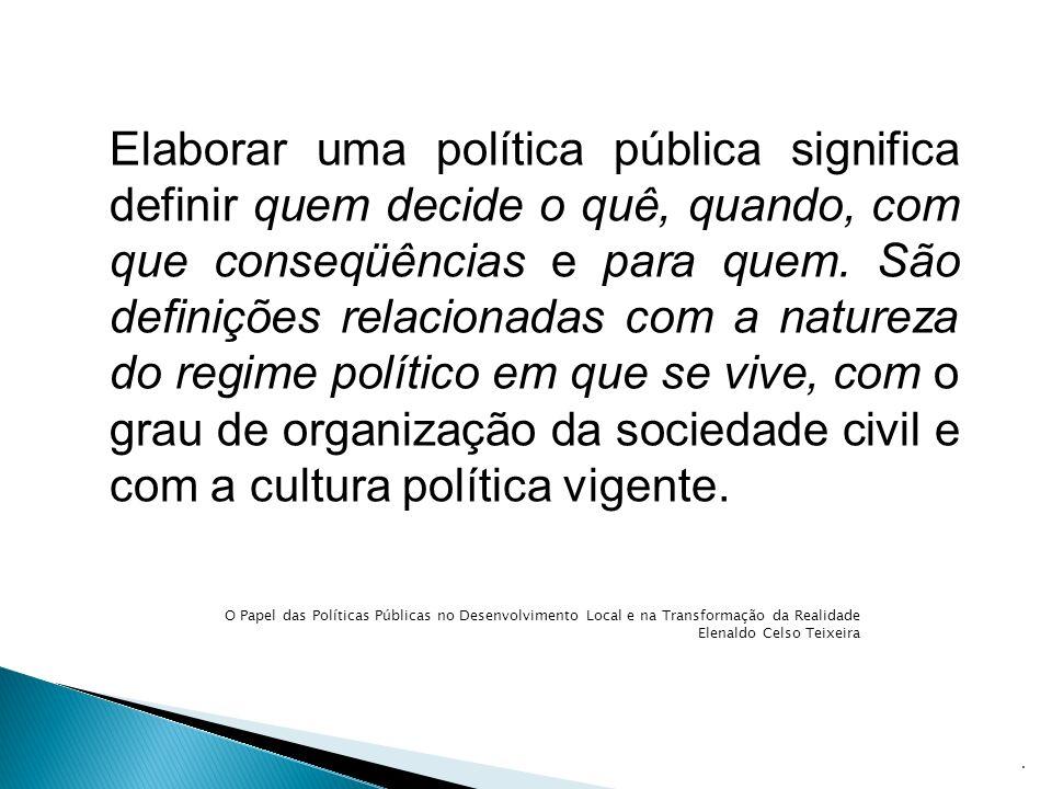 Elaborar uma política pública significa definir quem decide o quê, quando, com que conseqüências e para quem. São definições relacionadas com a nature