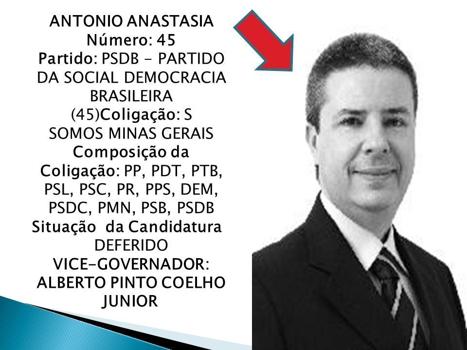 ANTONIO ANASTASIA Número: 45 Partido: PSDB - PARTIDO DA SOCIAL DEMOCRACIA BRASILEIRA (45)Coligação: S SOMOS MINAS GERAIS Composição da Coligação: PP,