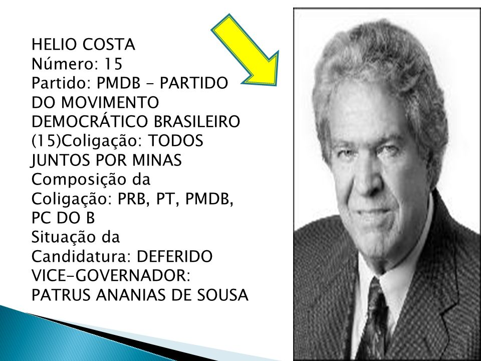 HELIO COSTA Número: 15 Partido: PMDB - PARTIDO DO MOVIMENTO DEMOCRÁTICO BRASILEIRO (15)Coligação: TODOS JUNTOS POR MINAS Composição da Coligação: PRB,