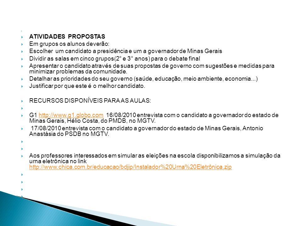 ATIVIDADES PROPOSTAS Em grupos os alunos deverão: Escolher um candidato a presidência e um a governador de Minas Gerais Dividir as salas em cinco grup