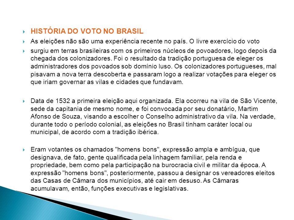 HISTÓRIA DO VOTO NO BRASIL As eleições não são uma experiência recente no país. O livre exercício do voto surgiu em terras brasileiras com os primeiro