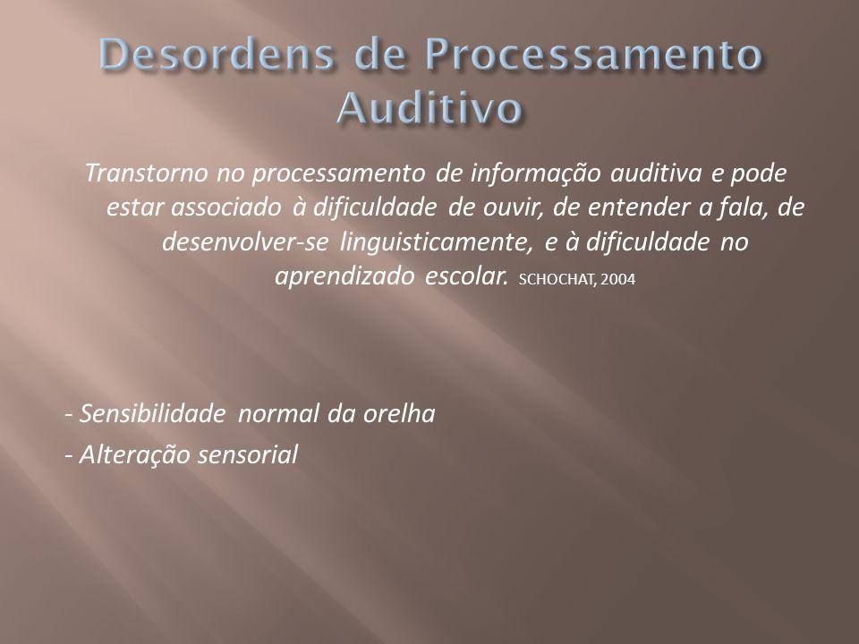 Transtorno no processamento de informação auditiva e pode estar associado à dificuldade de ouvir, de entender a fala, de desenvolver-se linguisticamen