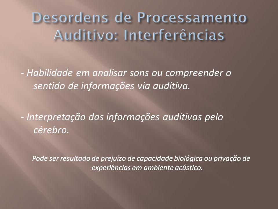 - Habilidade em analisar sons ou compreender o sentido de informações via auditiva. - Interpretação das informações auditivas pelo cérebro. Pode ser r