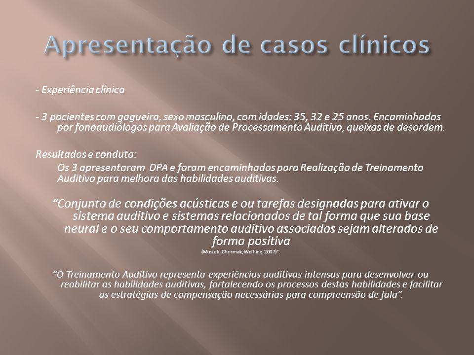 - Experiência clínica - 3 pacientes com gagueira, sexo masculino, com idades: 35, 32 e 25 anos. Encaminhados por fonoaudiólogos para Avaliação de Proc