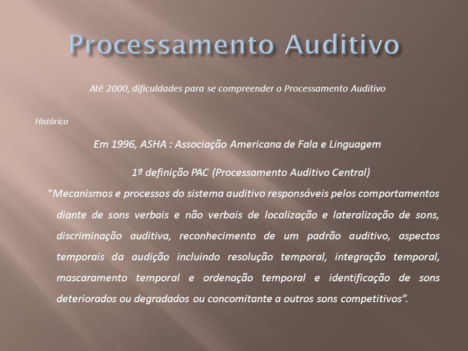 Até 2000, dificuldades para se compreender o Processamento Auditivo Histórico Em 1996, ASHA : Associação Americana de Fala e Linguagem 1ª definição PA