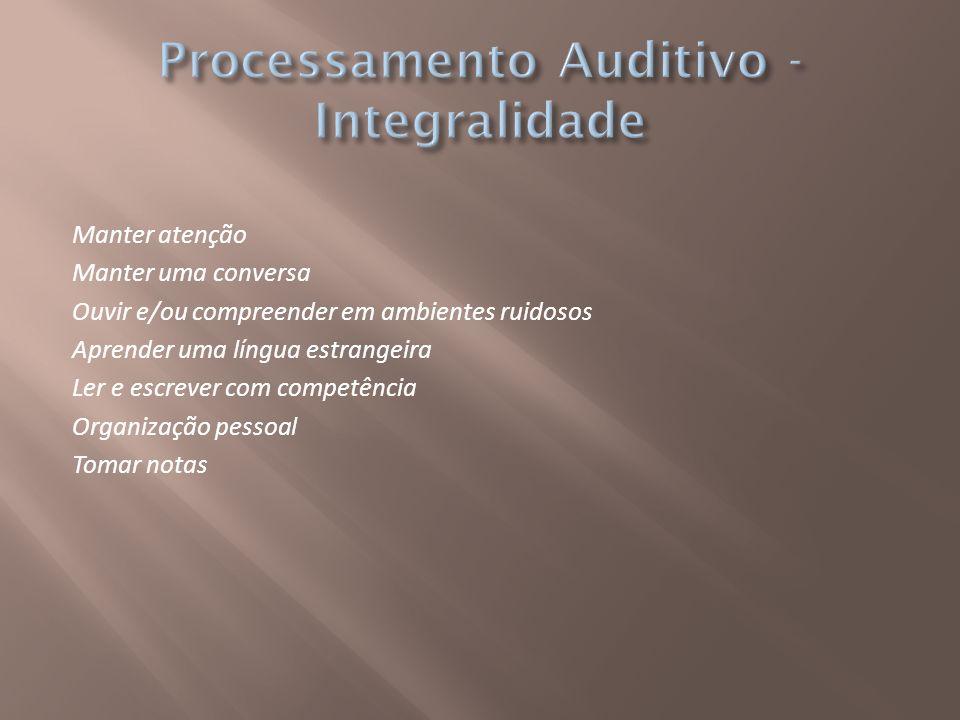 Distúrbios de Audição pode ser decorrente tanto de uma perda auditiva, quanto de uma desordem do processamento auditivo: periféricos (acuidade auditiva) centrais (percepção sonora) Considera-se disfunção auditiva central ou desordem do processamento auditivo central, um distúrbio da audição em que há impedimento da habilidade de analisar e/ou interpretar padrões sonoros.