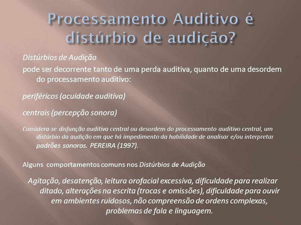 Distúrbios de Audição pode ser decorrente tanto de uma perda auditiva, quanto de uma desordem do processamento auditivo: periféricos (acuidade auditiv