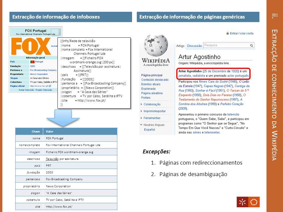 ii. E XTRACÇÃO DE CONHECIMENTO DA W IKIPÉDIA Extracção de informação de infoboxesExtracção de informação de páginas genéricas ChaveValor nomeFOX Portu