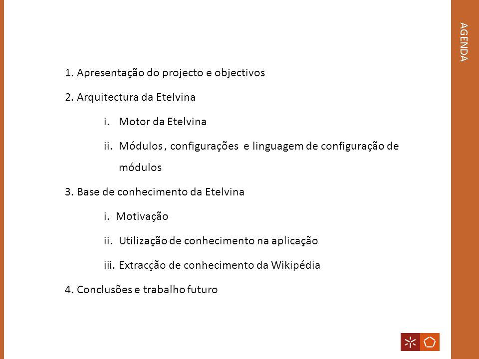 AGENDA 1.Apresentação do projecto e objectivos 2.Arquitectura da Etelvina i.Motor da Etelvina ii.Módulos, configurações e linguagem de configuração de