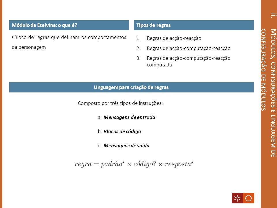 ii. M ÓDULOS, CONFIGURAÇÕES E LINGUAGEM DE CONFIGURAÇÃO DE MÓDULOS Linguagem para criação de regras Composto por três tipos de instruções: a. Mensagen