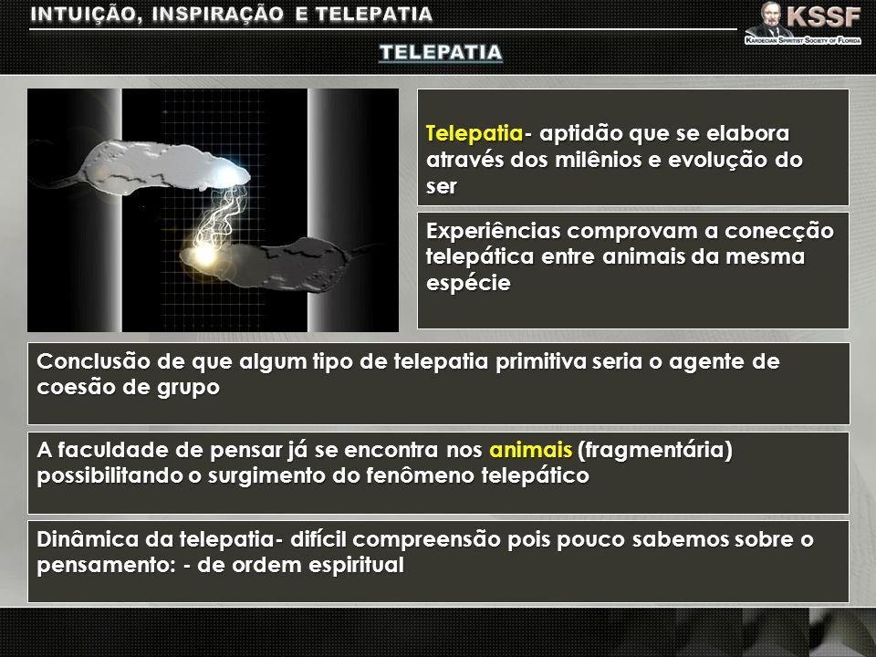 Telepatia- aptidão que se elabora através dos milênios e evolução do ser A faculdade de pensar já se encontra nos animais (fragmentária) possibilitand