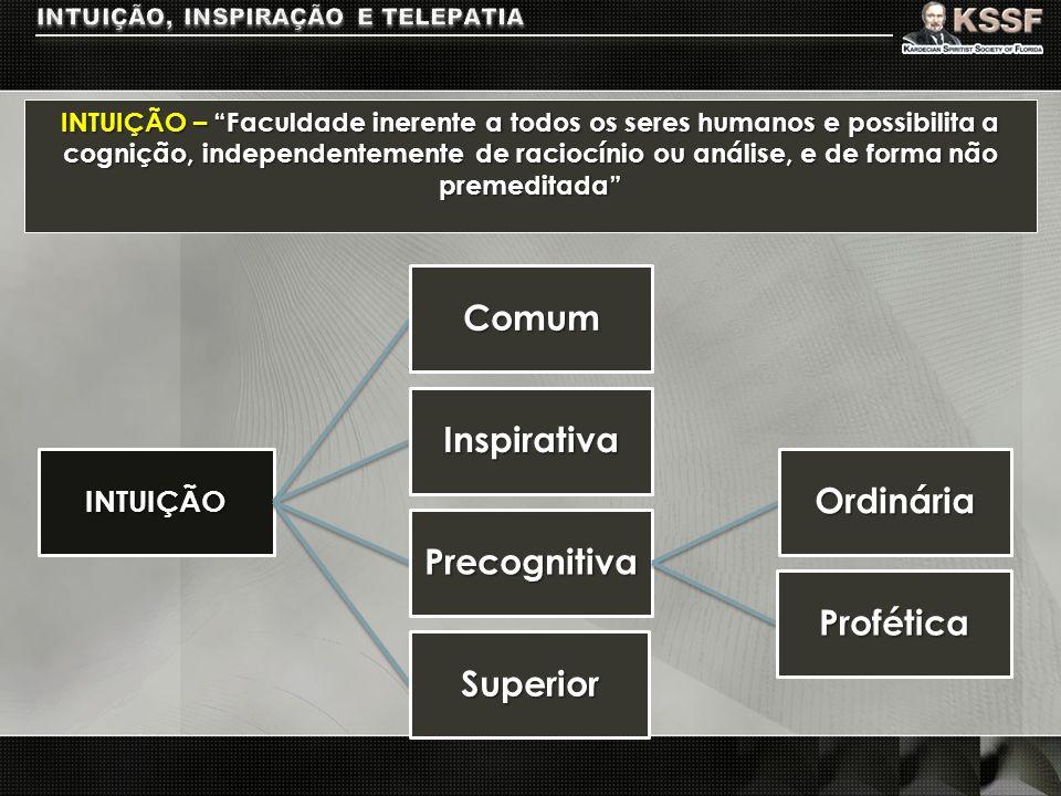 INTUIÇÃO – Faculdade inerente a todos os seres humanos e possibilita a cognição, independentemente de raciocínio ou análise, e de forma não premeditad