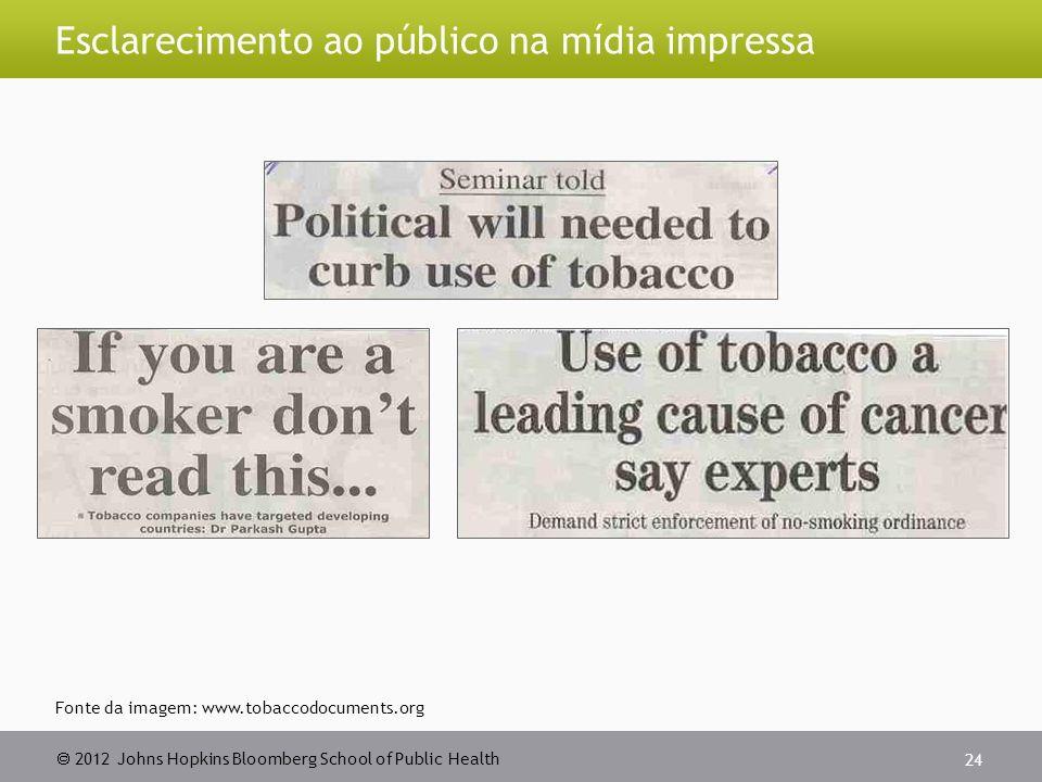 2012 Johns Hopkins Bloomberg School of Public Health Esclarecimento ao público na mídia impressa 24 Fonte da imagem: www.tobaccodocuments.org