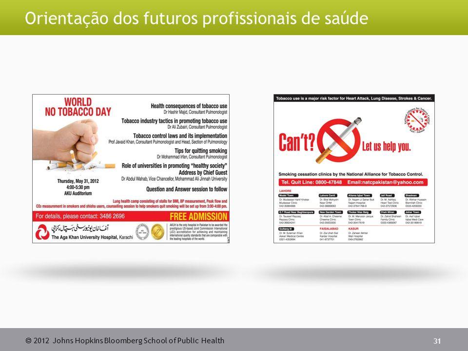2012 Johns Hopkins Bloomberg School of Public Health Orientação dos futuros profissionais de saúde 31
