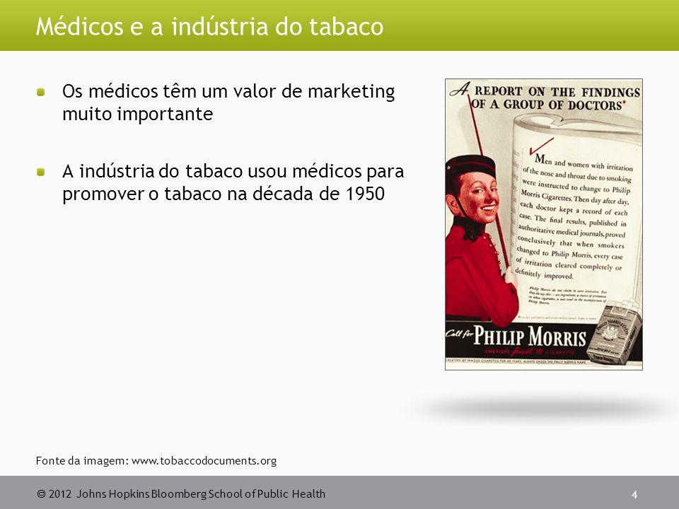 2012 Johns Hopkins Bloomberg School of Public Health Médicos e a indústria do tabaco Os médicos têm um valor de marketing muito importante A indústria do tabaco usou médicos para promover o tabaco na década de 1950 4 Fonte da imagem: www.tobaccodocuments.org