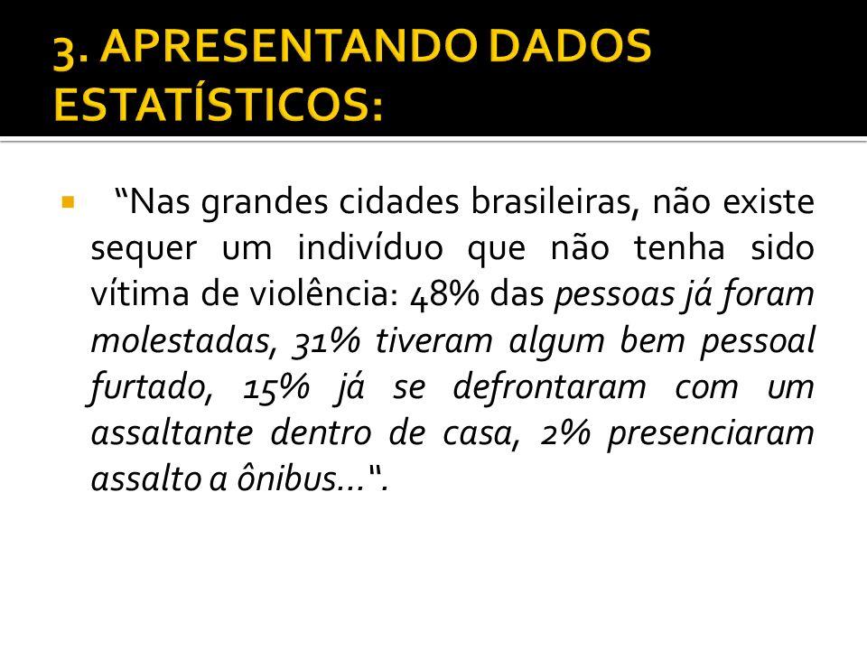Nas grandes cidades brasileiras, não existe sequer um indivíduo que não tenha sido vítima de violência: 48% das pessoas já foram molestadas, 31% tiver