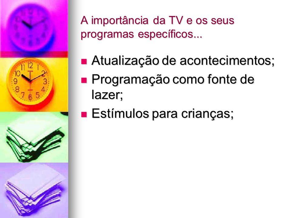 A importância da TV e os seus programas específicos... Atualização de acontecimentos; Atualização de acontecimentos; Programação como fonte de lazer;