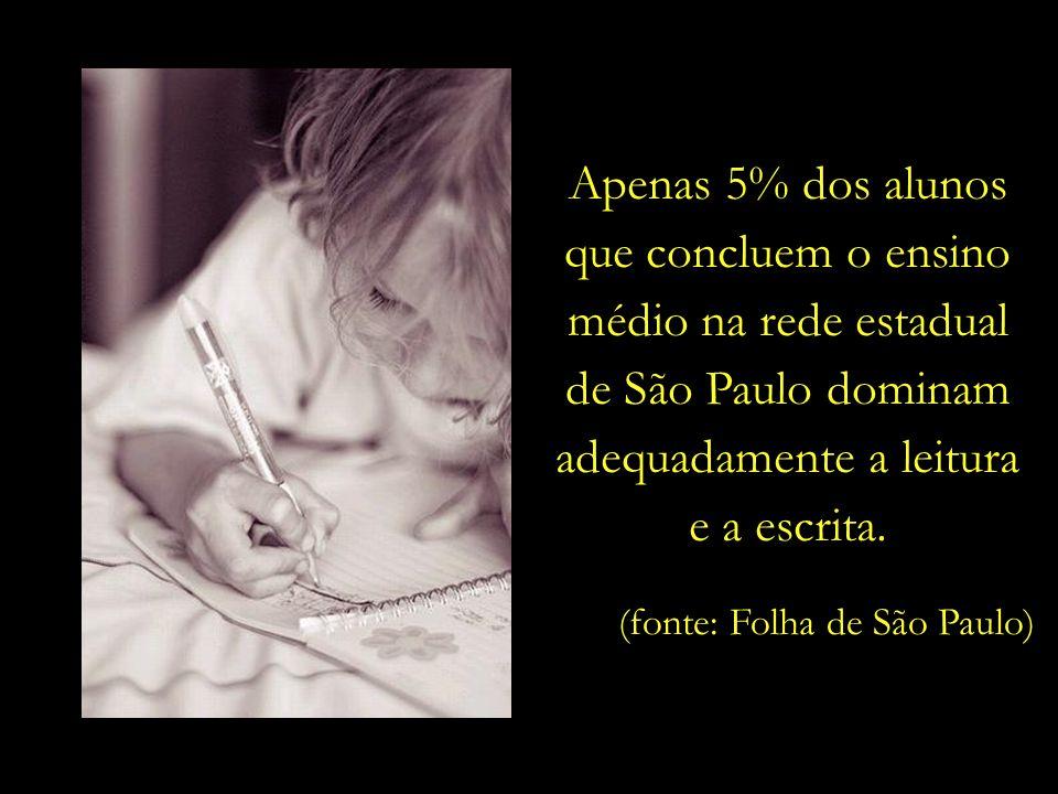 Apenas 5% dos alunos que concluem o ensino médio na rede estadual de São Paulo dominam adequadamente a leitura e a escrita.