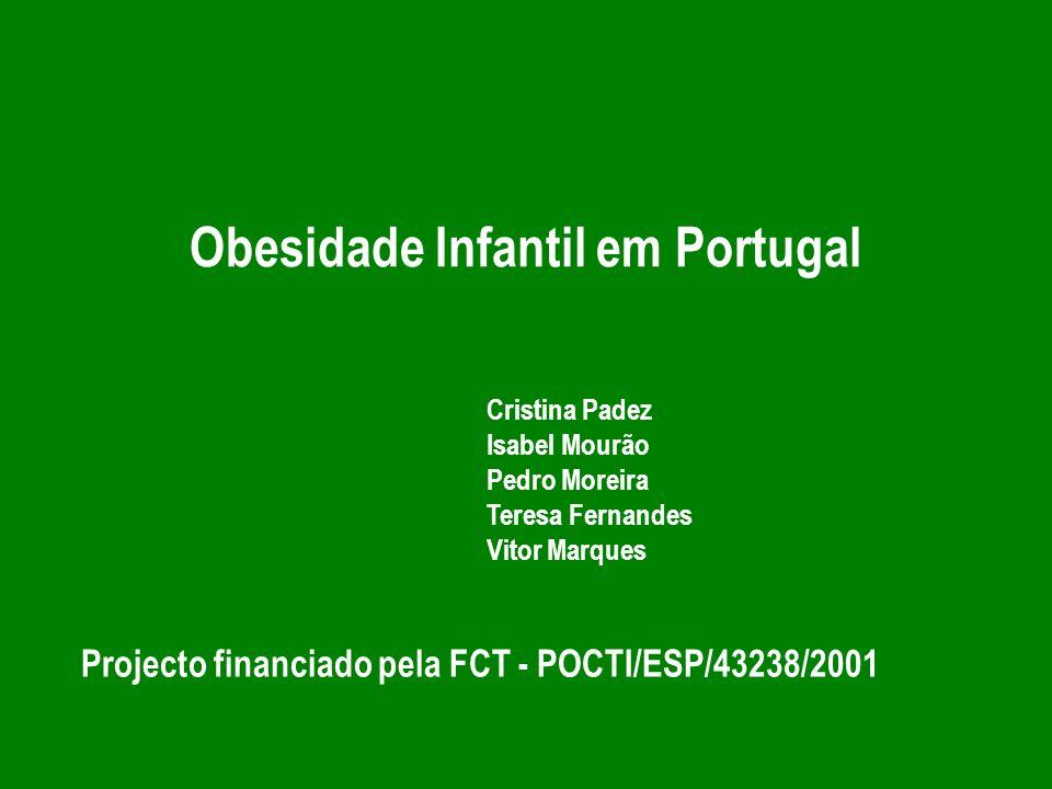 Conclusões - Valores preocupantes de obesidade infantil na população portuguesa - Meninas com valores mais elevados de obesidade do que os meninos - Mais horas de Televisão e de Computador maior percentagem de obesidade infantil - Quanto mais elevado o peso ao nascimento maior o risco de obesidade das crianças