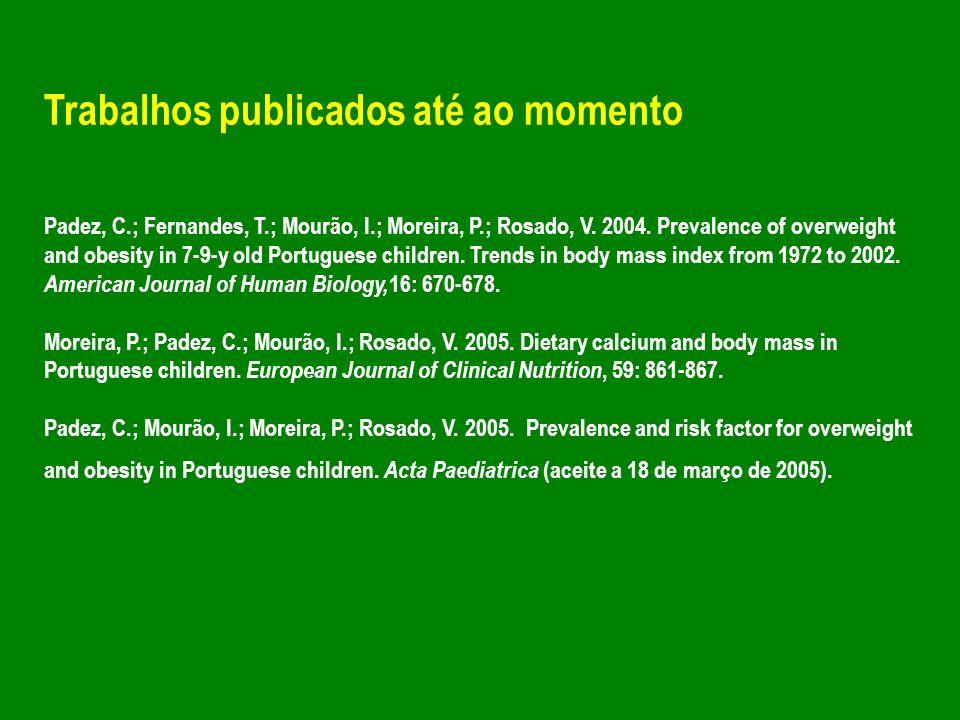 Trabalhos publicados até ao momento Padez, C.; Fernandes, T.; Mourão, I.; Moreira, P.; Rosado, V. 2004. Prevalence of overweight and obesity in 7-9-y