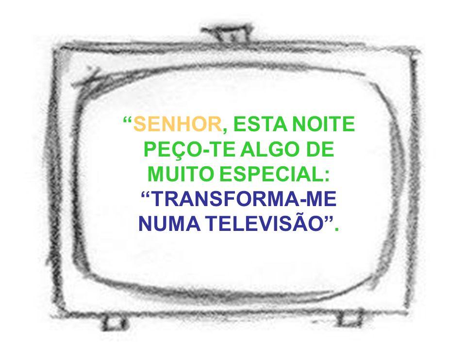 SENHOR, ESTA NOITE PEÇO-TE ALGO DE MUITO ESPECIAL: TRANSFORMA-ME NUMA TELEVISÃO.