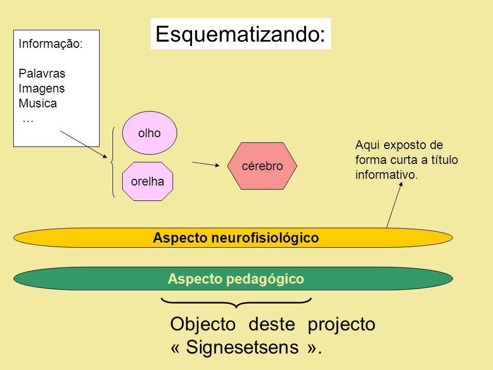Informação: Palavras Imagens Musica … olho cérebro Aspecto neurofisiológico Aspecto pedagógico orelha Objecto deste projecto « Signesetsens ».