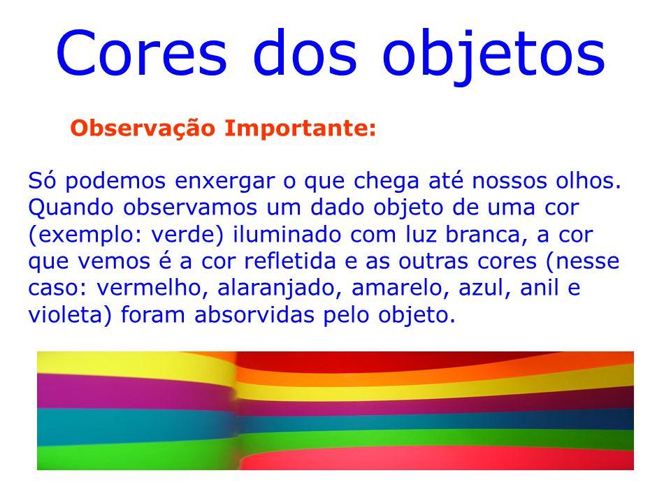 Composição da Luz Branca A luz branca ou também chamada de policromática é composta pelas cores : Vermelho,Laranja, Amarelo,Verde, Azul, Anil e Violet