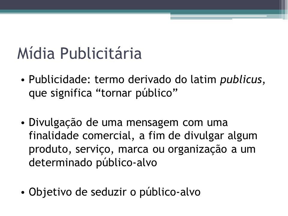 Mídia Publicitária Publicidade: termo derivado do latim publicus, que significa tornar público Divulgação de uma mensagem com uma finalidade comercial, a fim de divulgar algum produto, serviço, marca ou organização a um determinado público-alvo Objetivo de seduzir o público-alvo