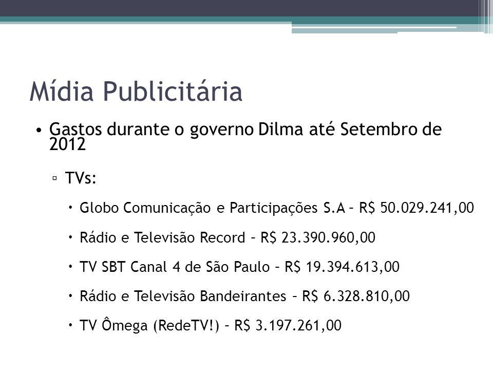 Mídia Publicitária Gastos durante o governo Dilma até Setembro de 2012 TVs: Globo Comunicação e Participações S.A – R$ 50.029.241,00 Rádio e Televisão Record – R$ 23.390.960,00 TV SBT Canal 4 de São Paulo – R$ 19.394.613,00 Rádio e Televisão Bandeirantes – R$ 6.328.810,00 TV Ômega (RedeTV!) – R$ 3.197.261,00