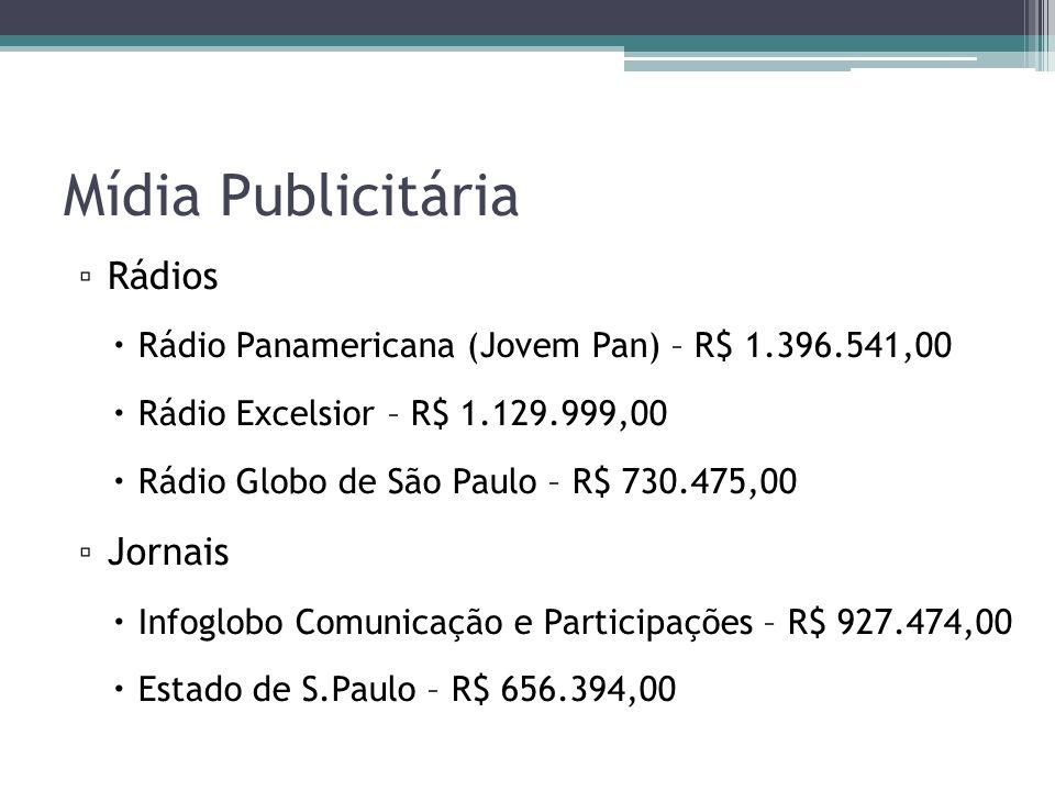 Mídia Publicitária Rádios Rádio Panamericana (Jovem Pan) – R$ 1.396.541,00 Rádio Excelsior – R$ 1.129.999,00 Rádio Globo de São Paulo – R$ 730.475,00 Jornais Infoglobo Comunicação e Participações – R$ 927.474,00 Estado de S.Paulo – R$ 656.394,00