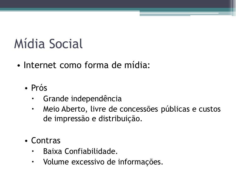 Mídia Social Internet como forma de mídia: Prós Grande independência Meio Aberto, livre de concessões públicas e custos de impressão e distribuição.