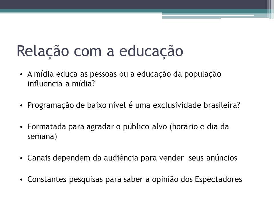 Relação com a educação A mídia educa as pessoas ou a educação da população influencia a mídia.