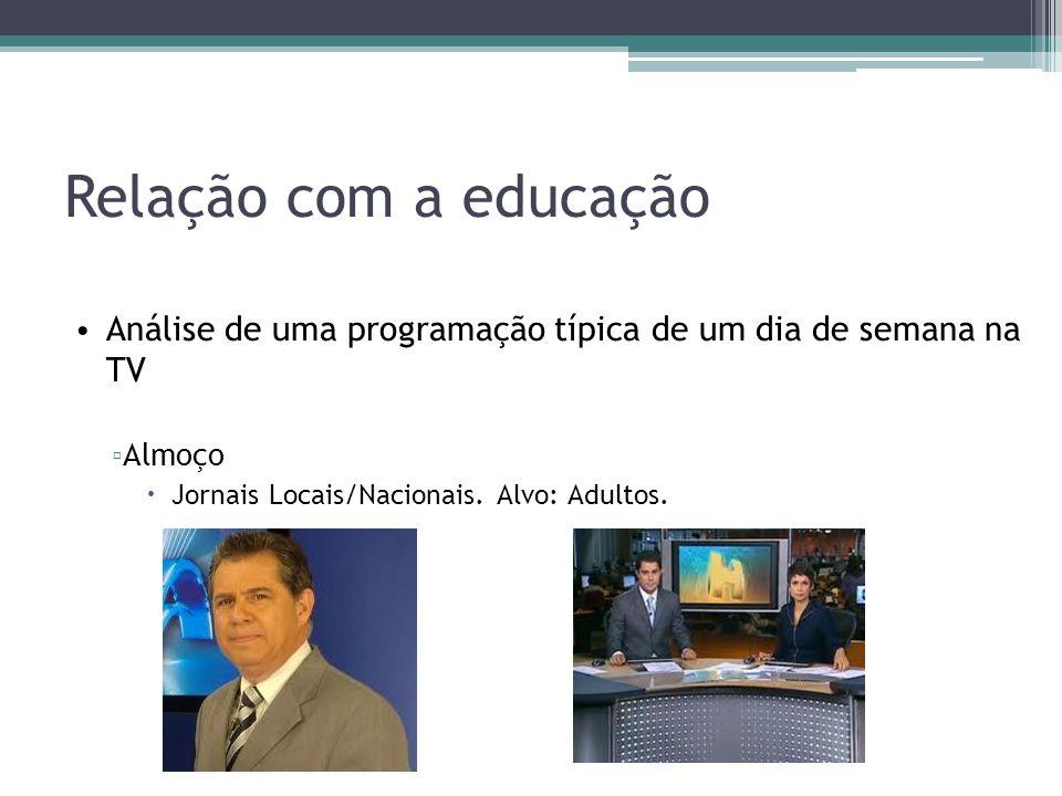 Relação com a educação Análise de uma programação típica de um dia de semana na TV Almoço Jornais Locais/Nacionais.