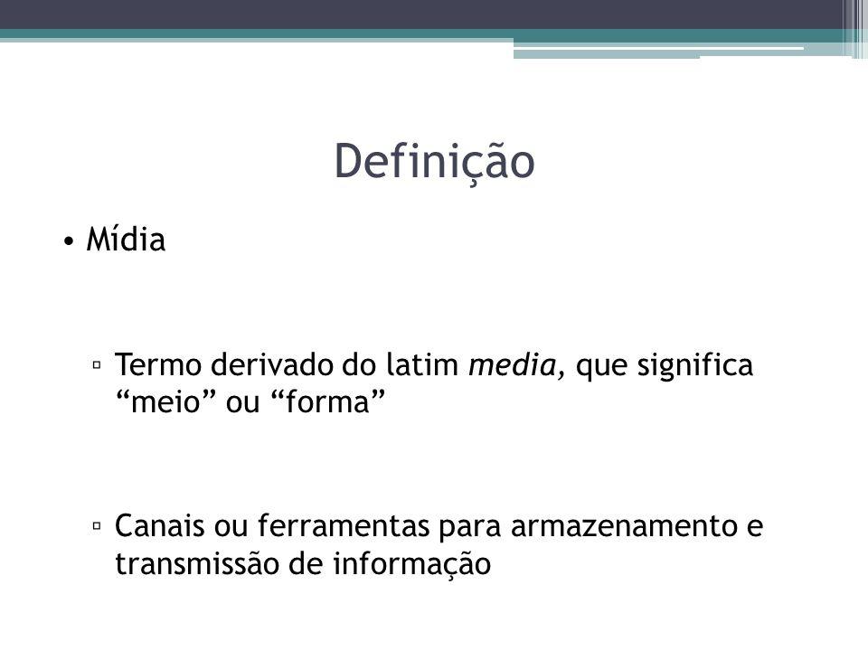 Definição Mídia Termo derivado do latim media, que significa meio ou forma Canais ou ferramentas para armazenamento e transmissão de informação