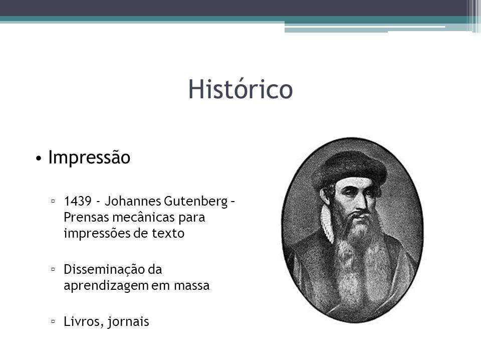 Histórico Impressão 1439 - Johannes Gutenberg – Prensas mecânicas para impressões de texto Disseminação da aprendizagem em massa Livros, jornais